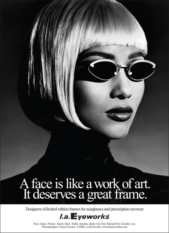 Supermodel Iman wearing Amrit in l.a.Eyeworks portrait advertising campaign