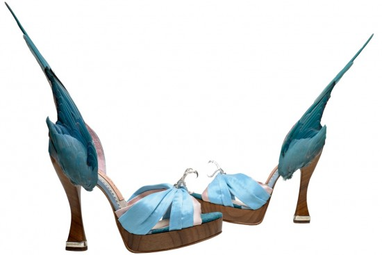 Caroline Groves 'Parakeet' shoes, leather silk satin, solid silver talons and heel tips, with feathers.  2014 England