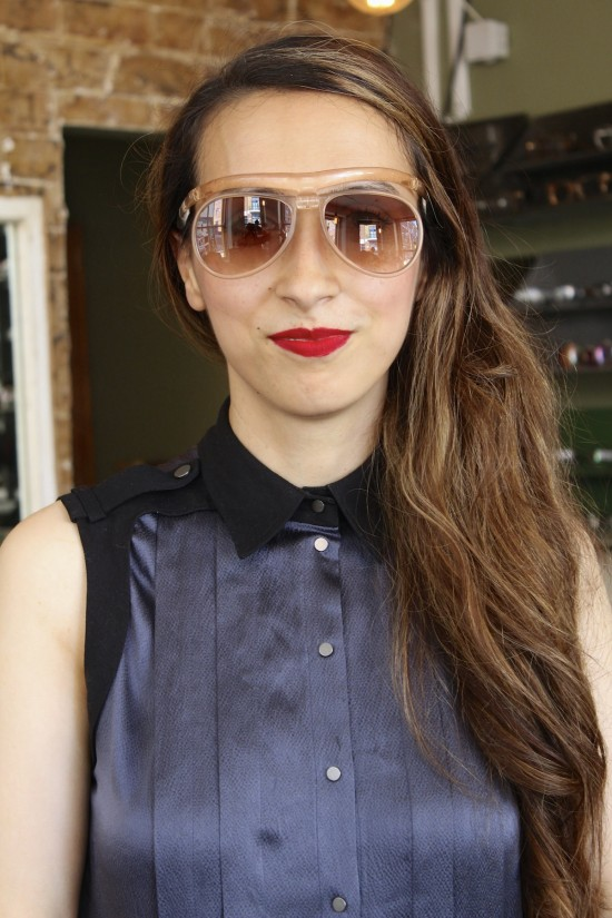 Festival eyewear: Hala models safety frame fitted with bespoke lenses