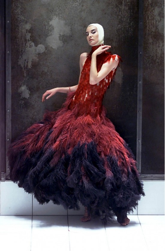 Dress of dyed ostrich feathers and hand-painted microscopic slides by Alexander McQueen
