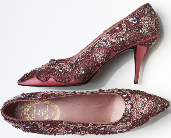 Roger Vivier for Christian Dior Evening shoe beaded silk and leather France 1958-60