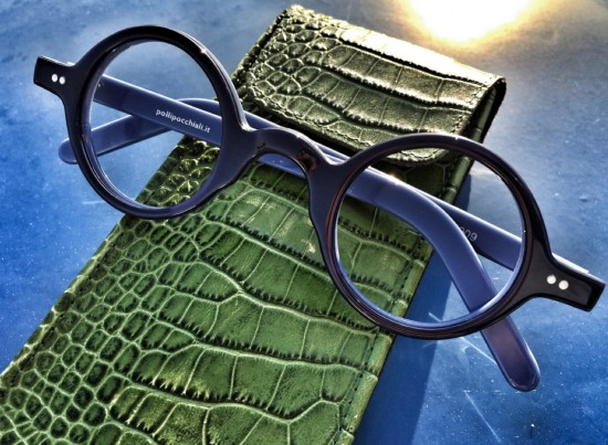 No. 506 double layer blue acetate with leather case in Energy Green Crocodile Pattern by Pollipo'
