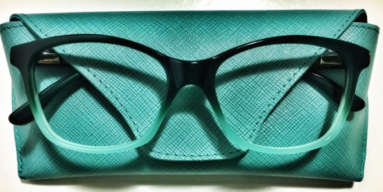 N. 594 in Umbria Green acetate with Saffiano clutch in natural Tuscan leather bu Pollipo'