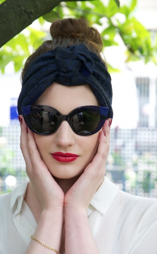 Turban by Johanna Braitbart; Poppy sunglasses by Face à Face  Paris
